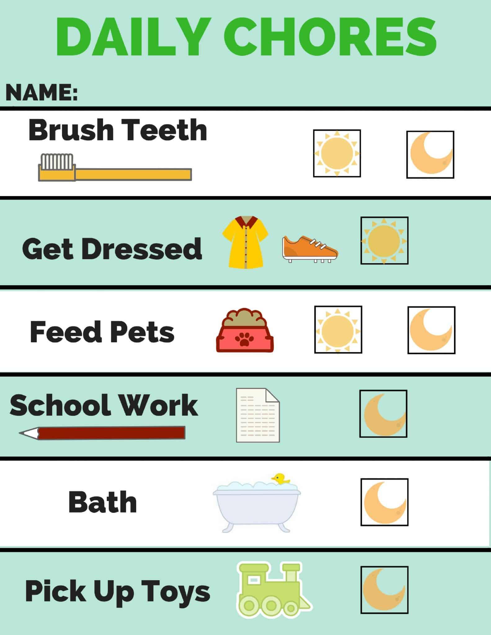 chore chart and behavior chart - free printable